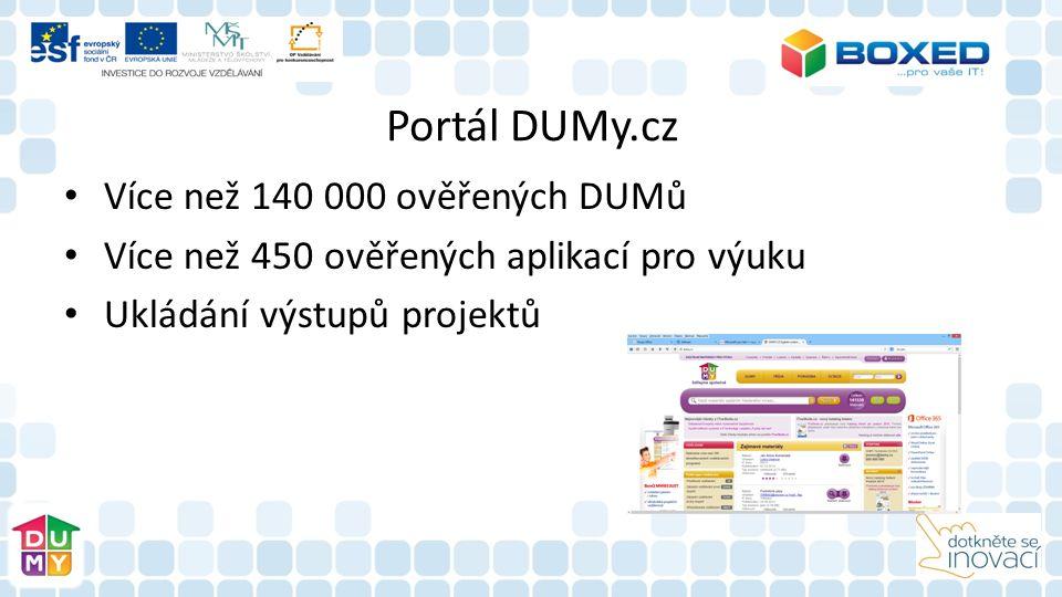 Portál DUMy.cz Více než 140 000 ověřených DUMů Více než 450 ověřených aplikací pro výuku Ukládání výstupů projektů