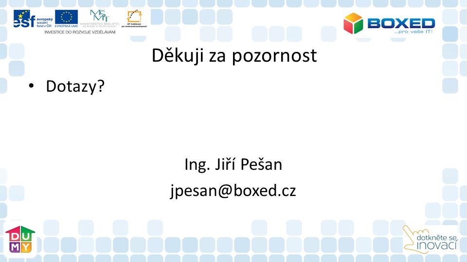 Děkuji za pozornost Dotazy Ing. Jiří Pešan jpesan@boxed.cz