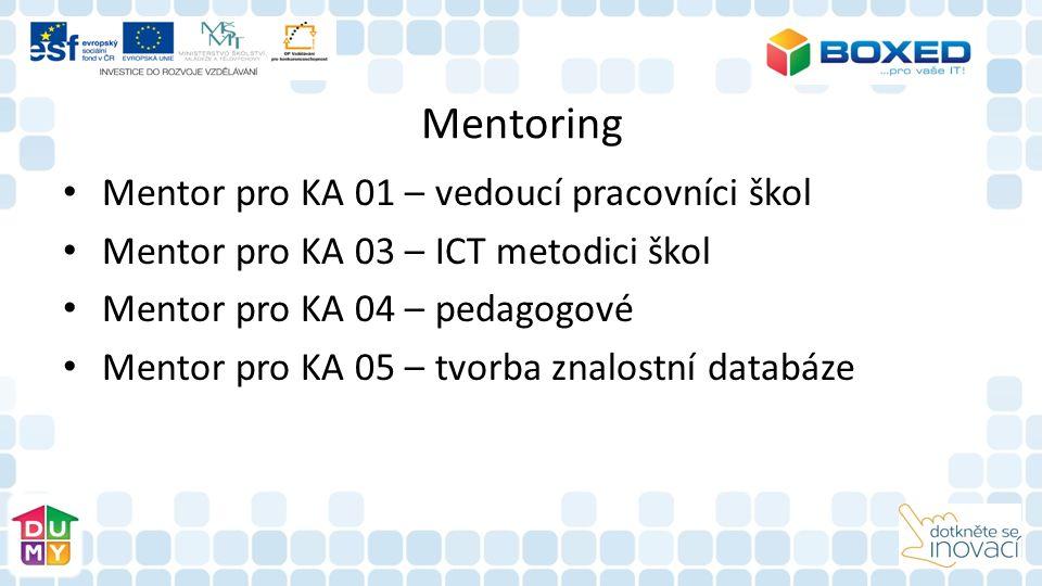 Mentoring Mentor pro KA 01 – vedoucí pracovníci škol Mentor pro KA 03 – ICT metodici škol Mentor pro KA 04 – pedagogové Mentor pro KA 05 – tvorba znalostní databáze