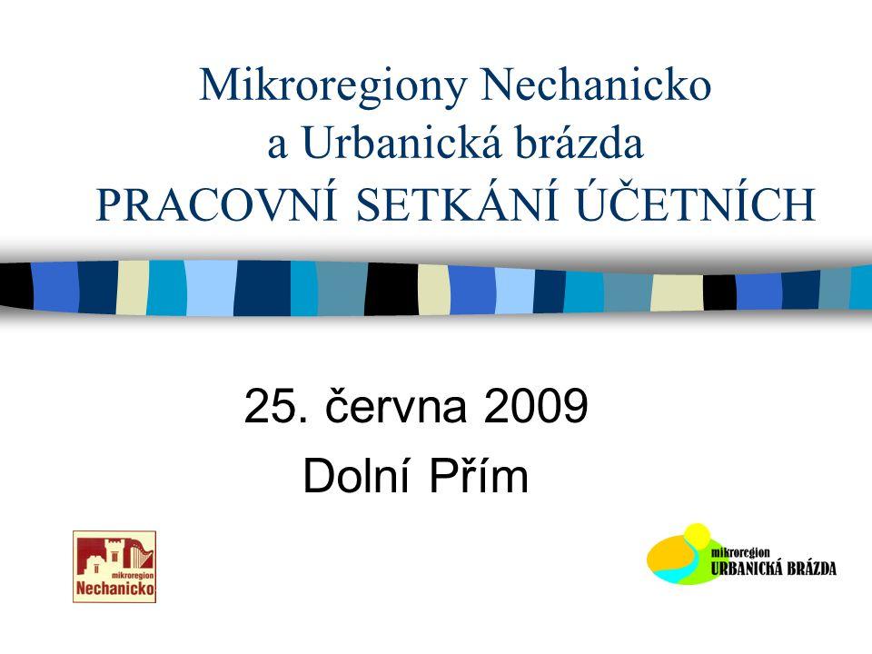 Mikroregiony Nechanicko a Urbanická brázda PRACOVNÍ SETKÁNÍ ÚČETNÍCH 25. června 2009 Dolní Přím