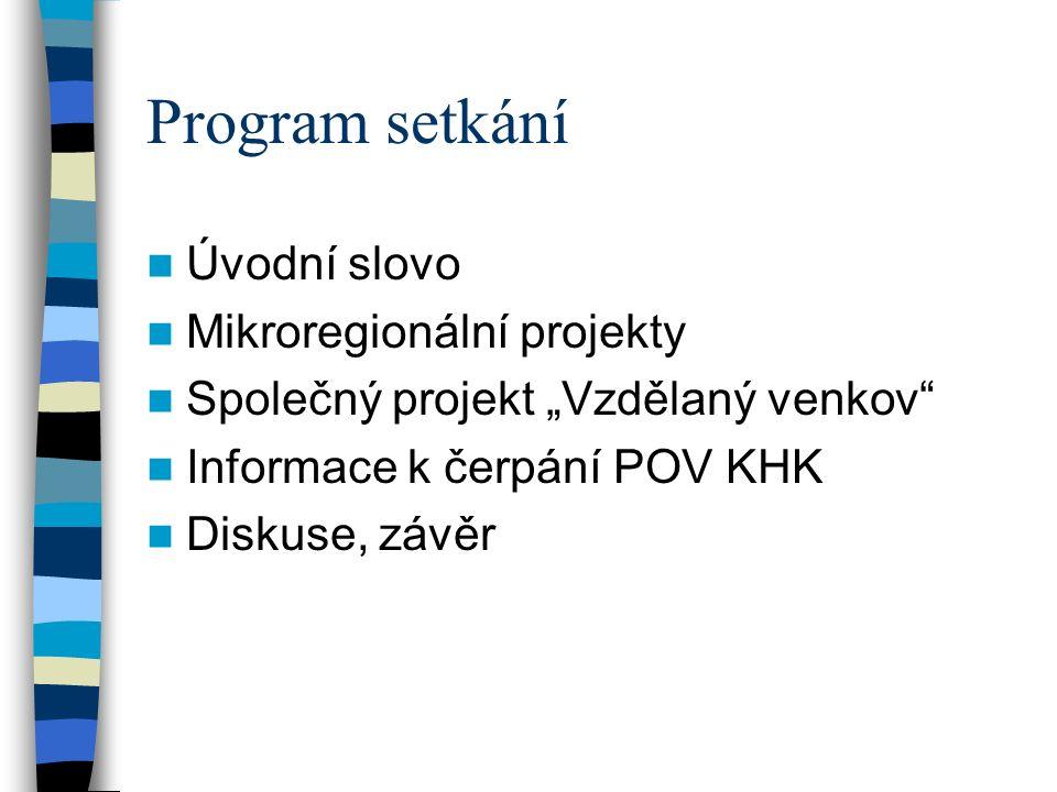 """Program setkání Úvodní slovo Mikroregionální projekty Společný projekt """"Vzdělaný venkov Informace k čerpání POV KHK Diskuse, závěr"""