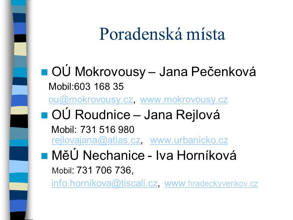 Poradenská místa OÚ Mokrovousy – Jana Pečenková Mobil:603 168 35 ou@mokrovousy.cz, www.mokrovousy.czou@mokrovousy.czwww.mokrovousy.cz OÚ Roudnice – Jana Rejlová Mobil: 731 516 980 rejlovajana@atlas.cz, www.urbanicko.cz rejlovajana@atlas.czwww.urbanicko.cz MěÚ Nechanice - Iva Horníková Mobil : 731 706 736, info.hornikova@tiscali.cz, www.hradeckyvenkov.czinfo.hornikova@tiscali.czwww.hradeckyvenkov.cz