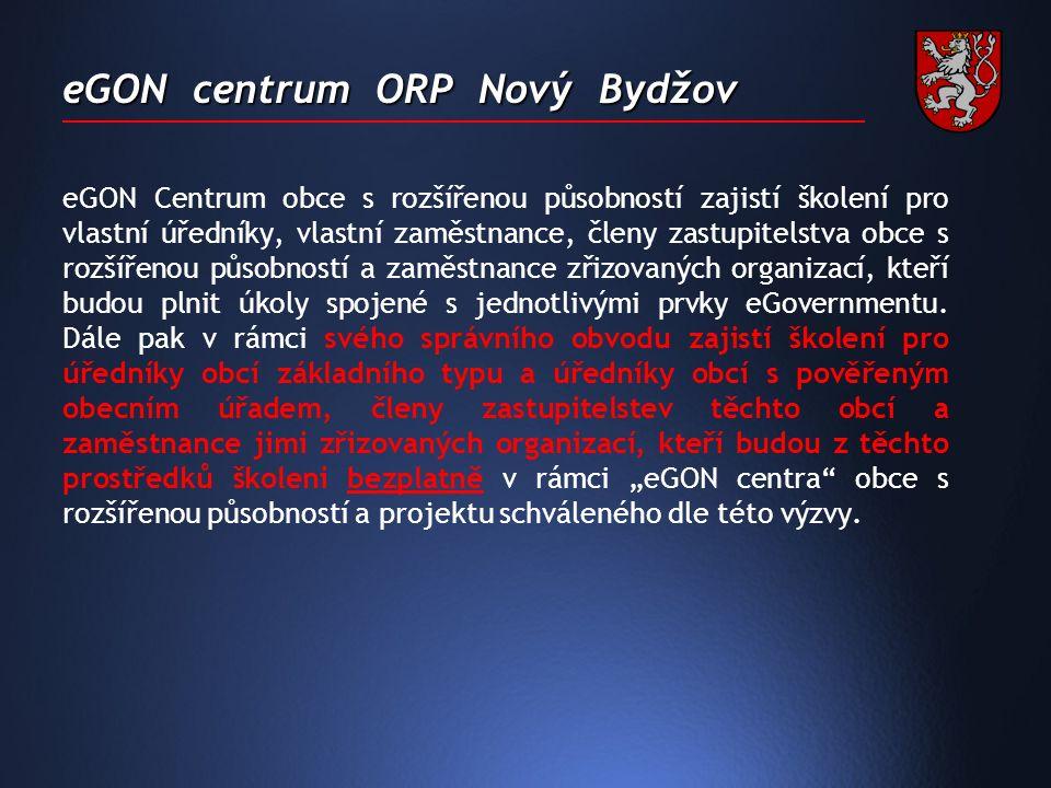 eGON centrum ORP Nový Bydžov  Školení bude probíhat prezenčně v počítačové učebně městského úřadu, která byla pro tento účel zřízena nebo distančně z domácího počítače za asistence skupiny tutorů.