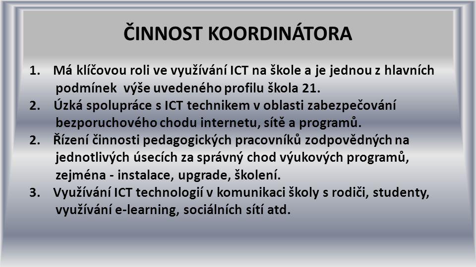 ČINNOST KOORDINÁTORA 1.Má klíčovou roli ve využívání ICT na škole a je jednou z hlavních podmínek výše uvedeného profilu škola 21.
