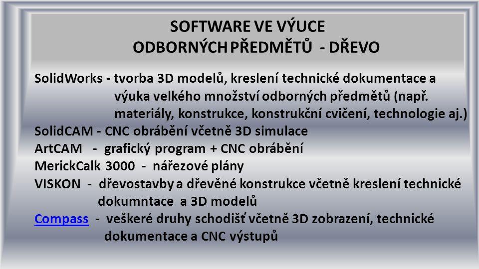 SOFTWARE VE VÝUCE ODBORNÝCH PŘEDMĚTŮ - DŘEVO SolidWorks - tvorba 3D modelů, kreslení technické dokumentace a výuka velkého množství odborných předmětů (např.
