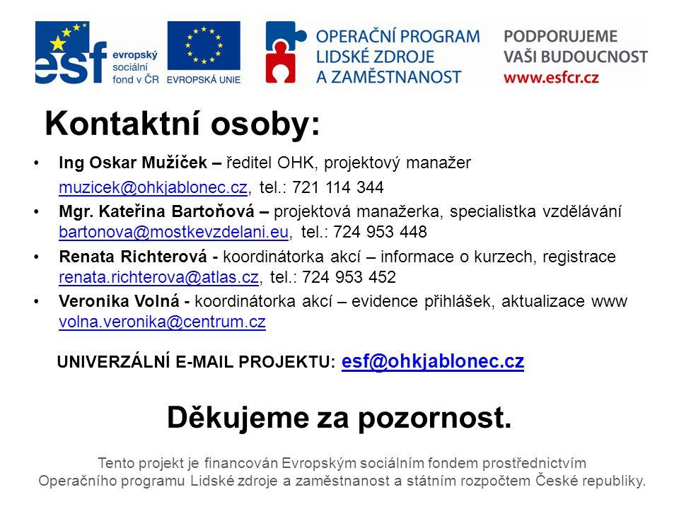 Tento projekt je financován Evropským sociálním fondem prostřednictvím Operačního programu Lidské zdroje a zaměstnanost a státním rozpočtem České repu