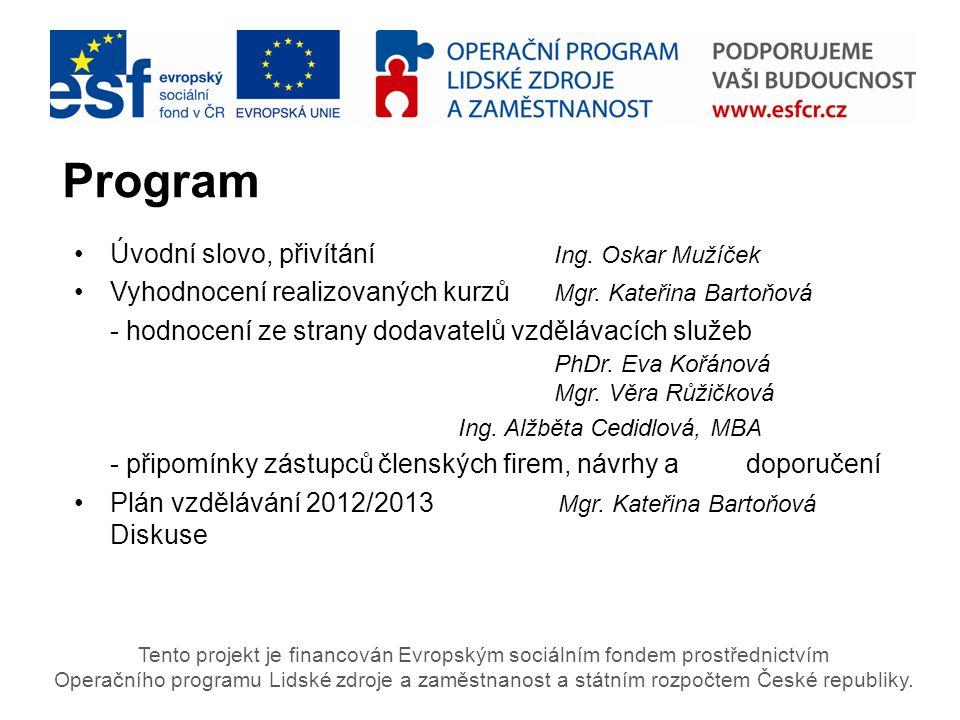 VYHODNOCENÍ REALIZOVANÝCH KURZŮ Období LEDEN – DUBEN 2012 Tento projekt je financován Evropským sociálním fondem prostřednictvím Operačního programu Lidské zdroje a zaměstnanost a státním rozpočtem České republiky.