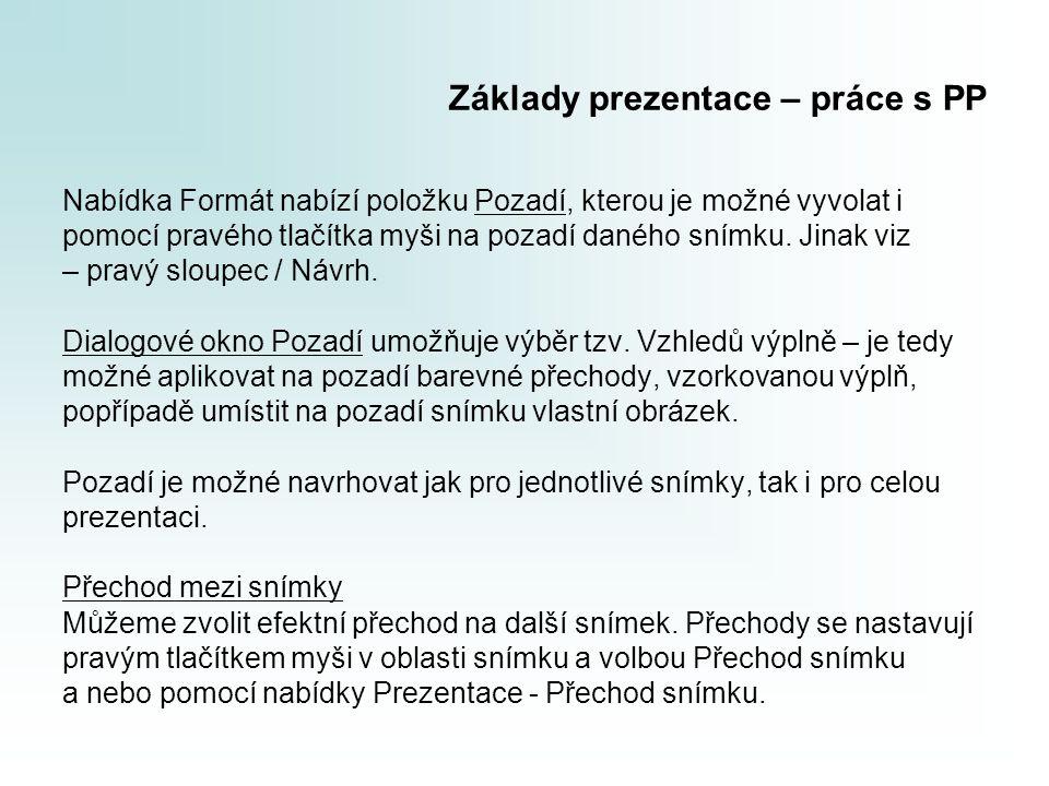 Základy prezentace – práce s PP Nabídka Formát nabízí položku Pozadí, kterou je možné vyvolat i pomocí pravého tlačítka myši na pozadí daného snímku.