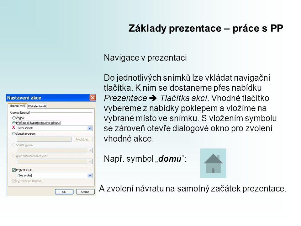 Základy prezentace – práce s PP Navigace v prezentaci Do jednotlivých snímků lze vkládat navigační tlačítka. K nim se dostaneme přes nabídku Prezentac