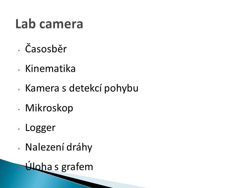 Časosběr Kinematika Kamera s detekcí pohybu Mikroskop Logger Nalezení dráhy Úloha s grafem
