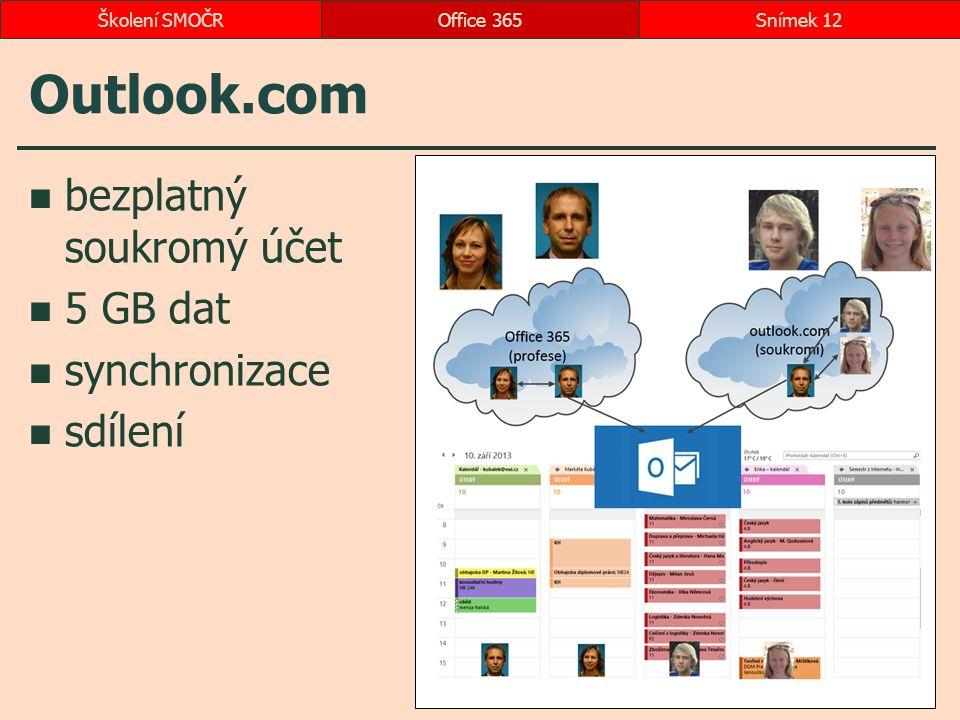 Outlook.com bezplatný soukromý účet 5 GB dat synchronizace sdílení Office 365Snímek 12Školení SMOČR