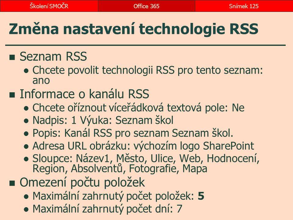 Změna nastavení technologie RSS Seznam RSS Chcete povolit technologii RSS pro tento seznam: ano Informace o kanálu RSS Chcete oříznout víceřádková textová pole: Ne Nadpis: 1 Výuka: Seznam škol Popis: Kanál RSS pro seznam Seznam škol.