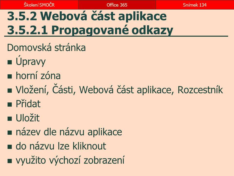 3.5.2 Webová část aplikace 3.5.2.1 Propagované odkazy Domovská stránka Úpravy horní zóna Vložení, Části, Webová část aplikace, Rozcestník Přidat Uloži