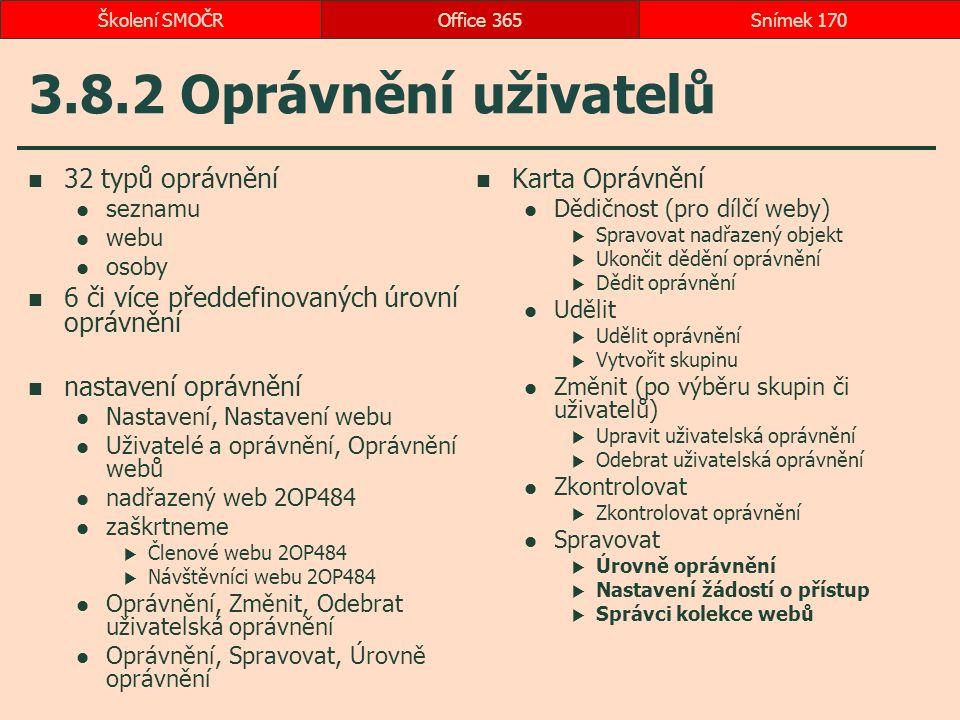 3.8.2 Oprávnění uživatelů 32 typů oprávnění seznamu webu osoby 6 či více předdefinovaných úrovní oprávnění nastavení oprávnění Nastavení, Nastavení we