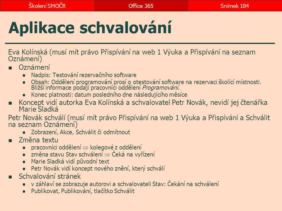 Aplikace schvalování Eva Kolínská (musí mít právo Přispívání na web 1 Výuka a Přispívání na seznam Oznámení) Oznámení Nadpis: Testování rezervačního software Obsah: Oddělení programování prosí o otestování software na rezervaci školící místnosti.