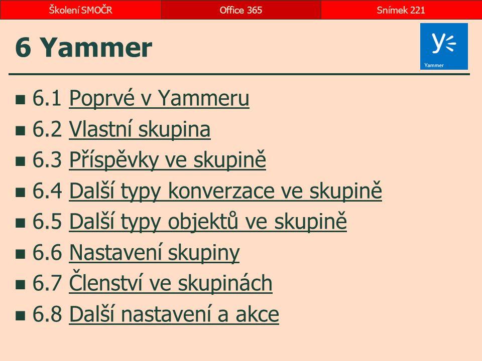 6 Yammer 6.1 Poprvé v YammeruPoprvé v Yammeru 6.2 Vlastní skupinaVlastní skupina 6.3 Příspěvky ve skupiněPříspěvky ve skupině 6.4 Další typy konverzac