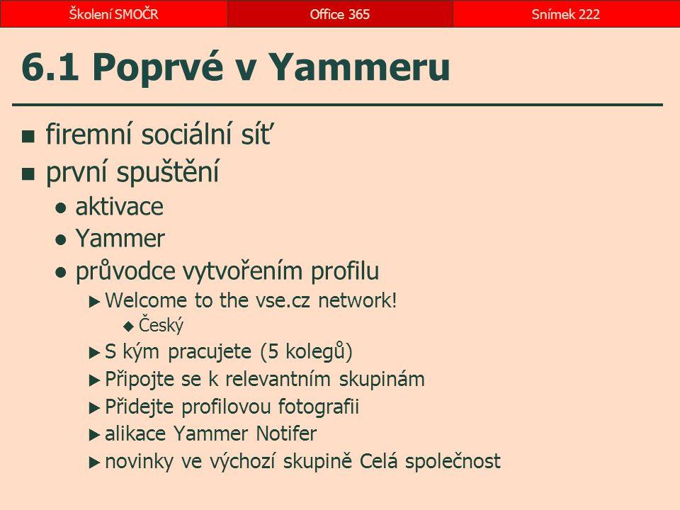 6.1 Poprvé v Yammeru firemní sociální síť první spuštění aktivace Yammer průvodce vytvořením profilu  Welcome to the vse.cz network.