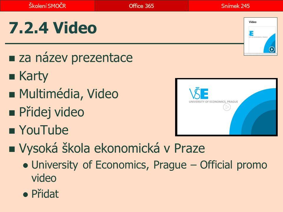 7.2.4 Video za název prezentace Karty Multimédia, Video Přidej video YouTube Vysoká škola ekonomická v Praze University of Economics, Prague – Official promo video Přidat Office 365Snímek 245Školení SMOČR