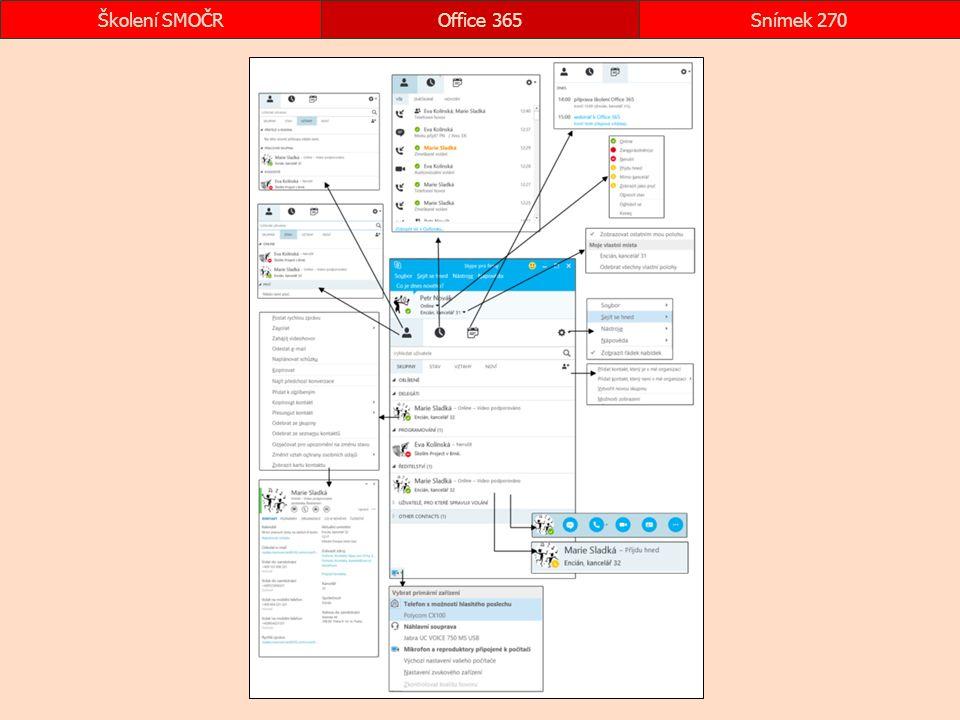 okna Skype Office 365Snímek 270Školení SMOČR