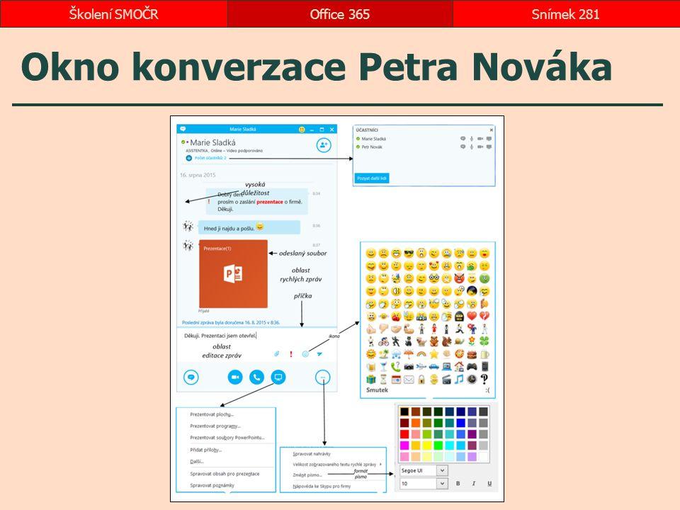 Okno konverzace Petra Nováka Office 365Snímek 281Školení SMOČR