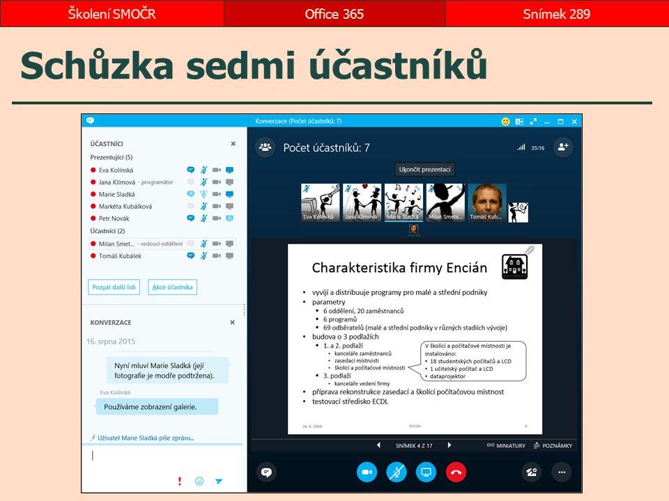 Schůzka sedmi účastníků Office 365Snímek 289Školení SMOČR