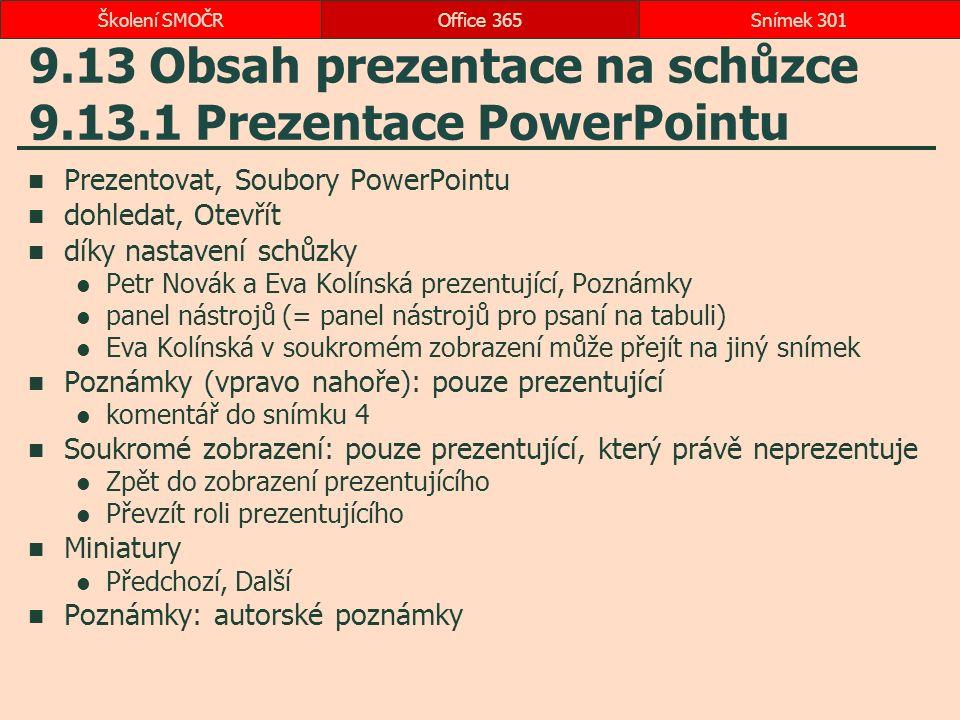 9.13 Obsah prezentace na schůzce 9.13.1 Prezentace PowerPointu Prezentovat, Soubory PowerPointu dohledat, Otevřít díky nastavení schůzky Petr Novák a