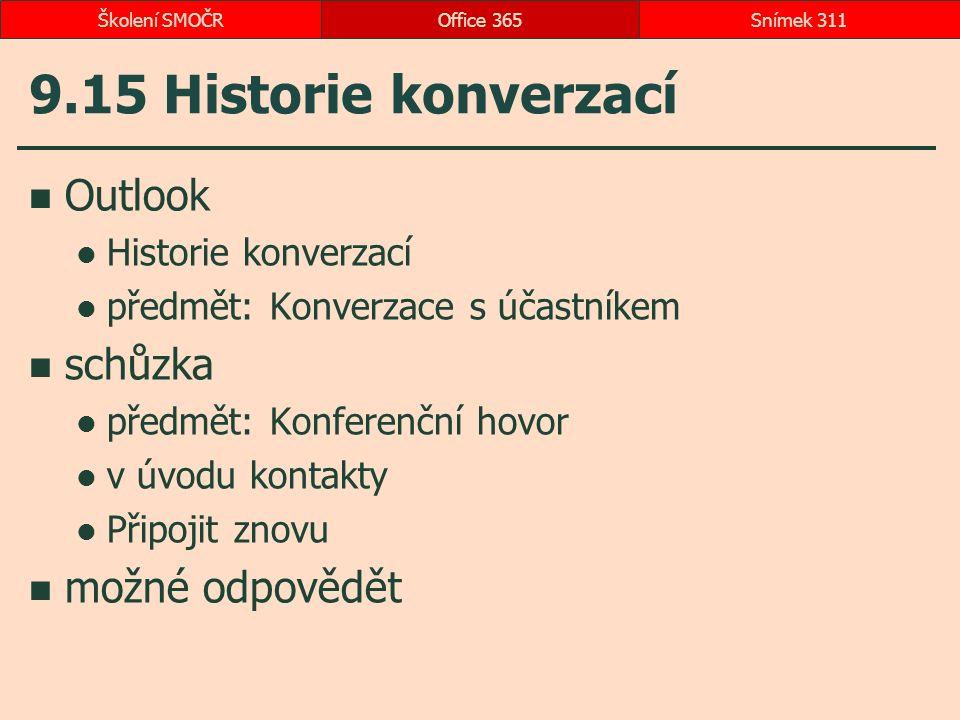 9.15 Historie konverzací Outlook Historie konverzací předmět: Konverzace s účastníkem schůzka předmět: Konferenční hovor v úvodu kontakty Připojit zno