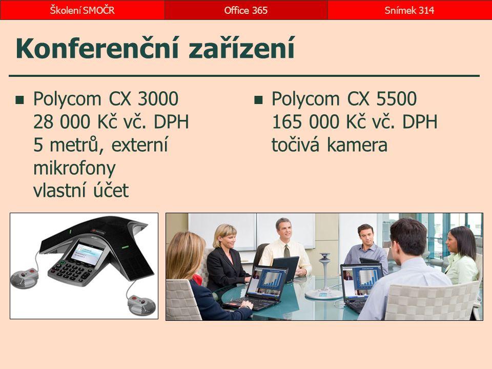 Konferenční zařízení Polycom CX 3000 28 000 Kč vč. DPH 5 metrů, externí mikrofony vlastní účet Polycom CX 5500 165 000 Kč vč. DPH točivá kamera Office