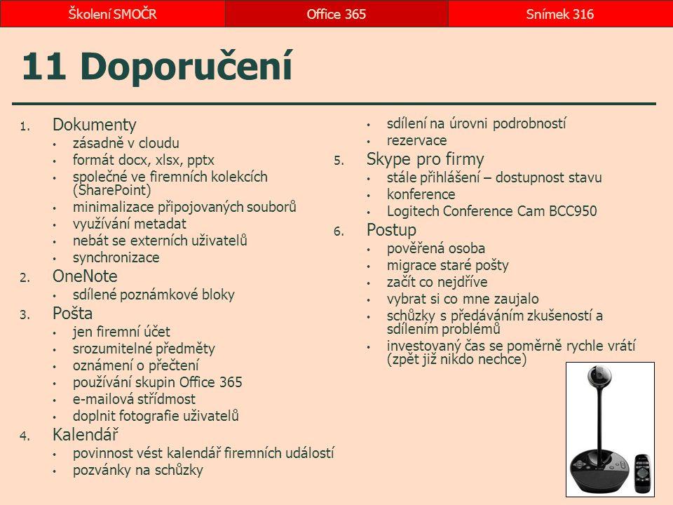 11 Doporučení 1. Dokumenty zásadně v cloudu formát docx, xlsx, pptx společné ve firemních kolekcích (SharePoint) minimalizace připojovaných souborů vy