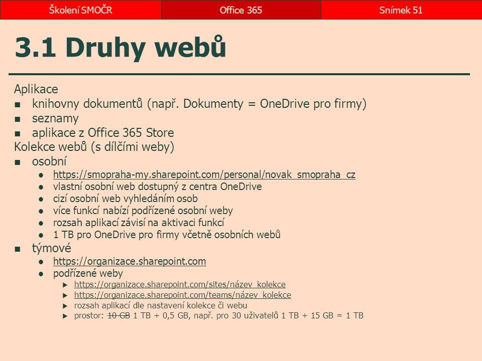 3.1 Druhy webů Aplikace knihovny dokumentů (např. Dokumenty = OneDrive pro firmy) seznamy aplikace z Office 365 Store Kolekce webů (s dílčími weby) os
