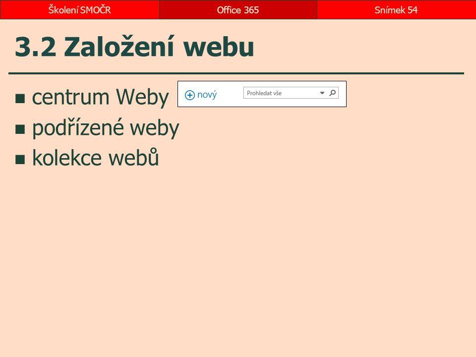 3.2 Založení webu centrum Weby podřízené weby kolekce webů Office 365Snímek 54Školení SMOČR