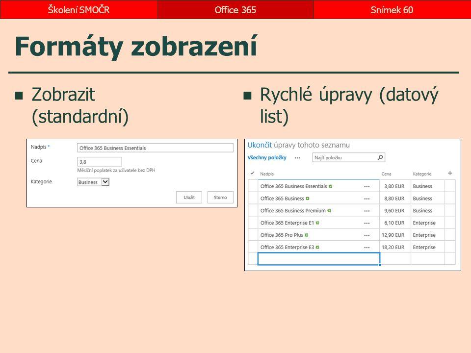 Formáty zobrazení Zobrazit (standardní) Rychlé úpravy (datový list) Office 365Snímek 60Školení SMOČR