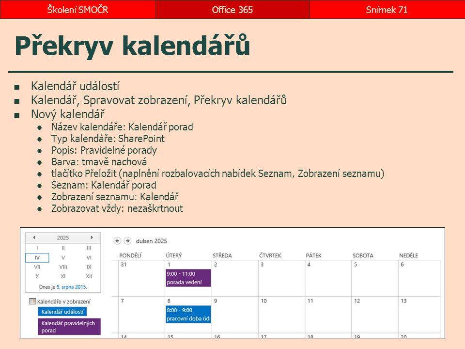Překryv kalendářů Kalendář událostí Kalendář, Spravovat zobrazení, Překryv kalendářů Nový kalendář Název kalendáře: Kalendář porad Typ kalendáře: Shar