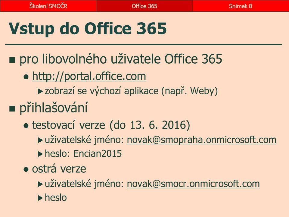 Vstup do Office 365 pro libovolného uživatele Office 365 http://portal.office.com  zobrazí se výchozí aplikace (např. Weby) přihlašování testovací ve