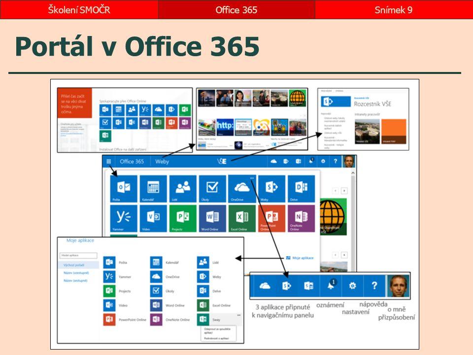 Portál v Office 365 Office 365Snímek 9Školení SMOČR