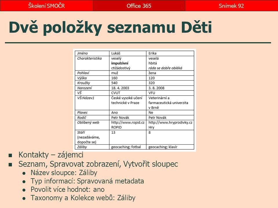 Dvě položky seznamu Děti Kontakty – zájemci Seznam, Spravovat zobrazení, Vytvořit sloupec Název sloupce: Záliby Typ informací: Spravovaná metadata Pov