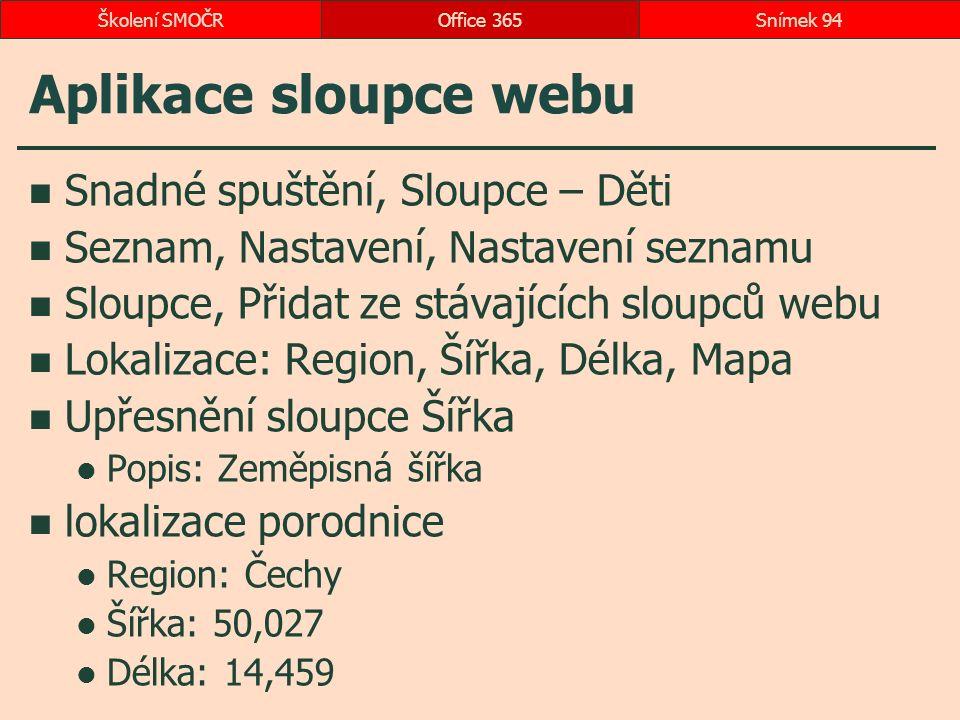 Aplikace sloupce webu Snadné spuštění, Sloupce – Děti Seznam, Nastavení, Nastavení seznamu Sloupce, Přidat ze stávajících sloupců webu Lokalizace: Reg