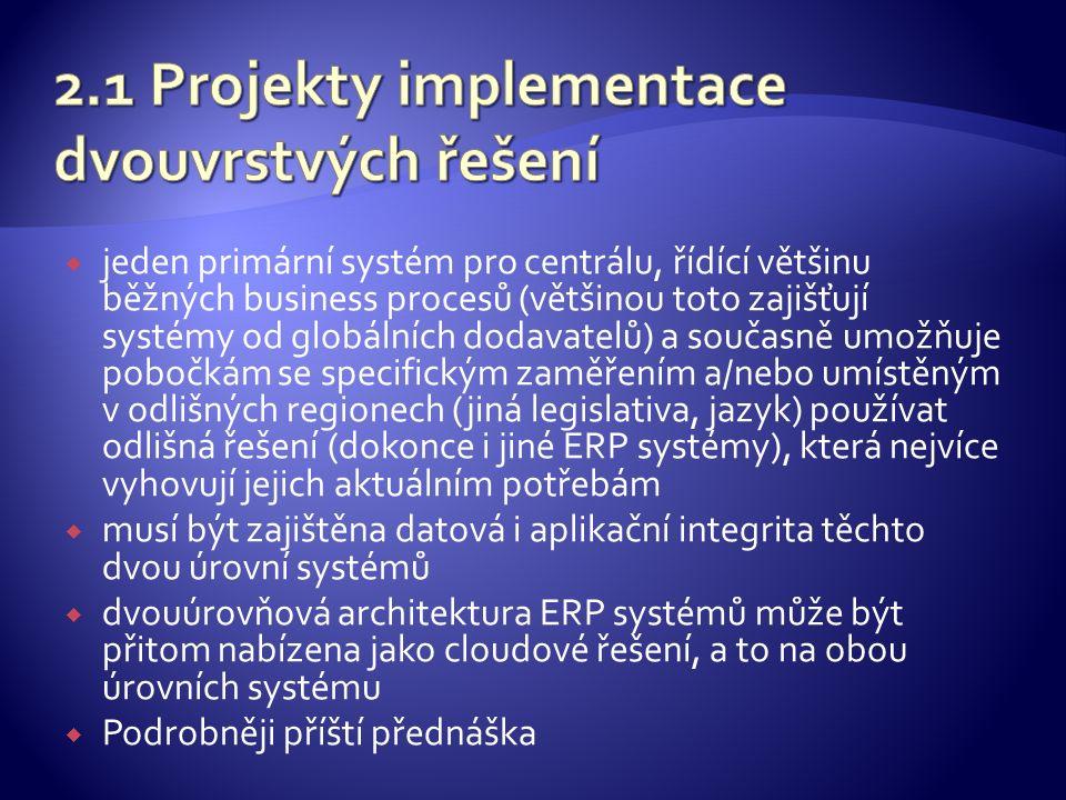  jeden primární systém pro centrálu, řídící většinu běžných business procesů (většinou toto zajišťují systémy od globálních dodavatelů) a současně umožňuje pobočkám se specifickým zaměřením a/nebo umístěným v odlišných regionech (jiná legislativa, jazyk) používat odlišná řešení (dokonce i jiné ERP systémy), která nejvíce vyhovují jejich aktuálním potřebám  musí být zajištěna datová i aplikační integrita těchto dvou úrovní systémů  dvouúrovňová architektura ERP systémů může být přitom nabízena jako cloudové řešení, a to na obou úrovních systému  Podrobněji příští přednáška