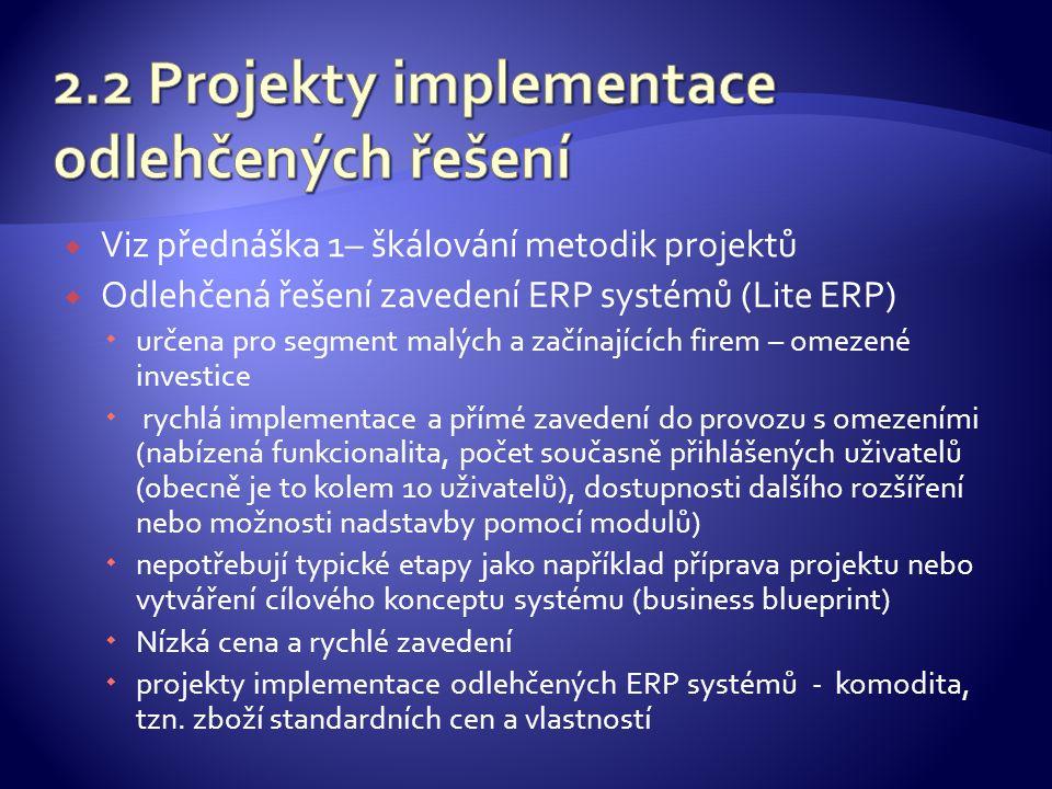  Viz přednáška 1– škálování metodik projektů  Odlehčená řešení zavedení ERP systémů (Lite ERP)  určena pro segment malých a začínajících firem – omezené investice  rychlá implementace a přímé zavedení do provozu s omezeními (nabízená funkcionalita, počet současně přihlášených uživatelů (obecně je to kolem 10 uživatelů), dostupnosti dalšího rozšíření nebo možnosti nadstavby pomocí modulů)  nepotřebují typické etapy jako například příprava projektu nebo vytváření cílového konceptu systému (business blueprint)  Nízká cena a rychlé zavedení  projekty implementace odlehčených ERP systémů - komodita, tzn.