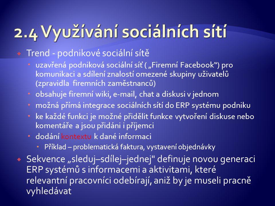 """ Trend - podnikové sociální sítě  uzavřená podniková sociální síť ( """"Firemní Facebook ) pro komunikaci a sdílení znalostí omezené skupiny uživatelů (zpravidla firemních zaměstnanců)  obsahuje firemní wiki, e-mail, chat a diskusi v jednom  možná přímá integrace sociálních sítí do ERP systému podniku  ke každé funkci je možné přidělit funkce vytvoření diskuse nebo komentáře a jsou přidáni i příjemci  dodání kontextu k dané informaci  Příklad – problematická faktura, vystavení objednávky  Sekvence """"sleduj–sdílej–jednej definuje novou generaci ERP systémů s informacemi a aktivitami, které relevantní pracovníci odebírají, aniž by je museli pracně vyhledávat"""