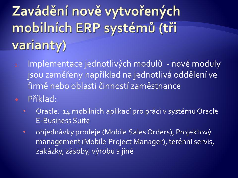 2. Implementace jednotlivých modulů - nové moduly jsou zaměřeny například na jednotlivá oddělení ve firmě nebo oblasti činností zaměstnance  Příklad: