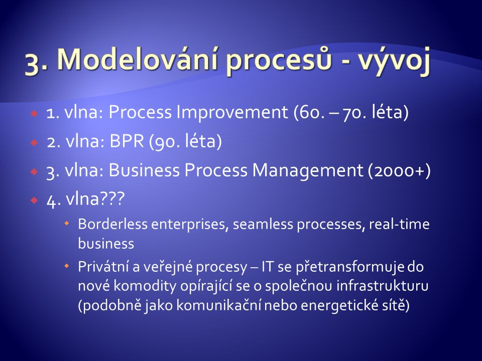  1. vlna: Process Improvement (60. – 70. léta)  2.
