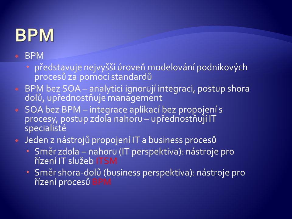  BPM  představuje nejvyšší úroveň modelování podnikových procesů za pomoci standardů  BPM bez SOA – analytici ignorují integraci, postup shora dolů, upřednostňuje management  SOA bez BPM – integrace aplikací bez propojení s procesy, postup zdola nahoru – upřednostňují IT specialisté  Jeden z nástrojů propojení IT a business procesů  Směr zdola – nahoru (IT perspektiva): nástroje pro řízení IT služeb ITSM  Směr shora-dolů (business perspektiva): nástroje pro řízení procesů BPM