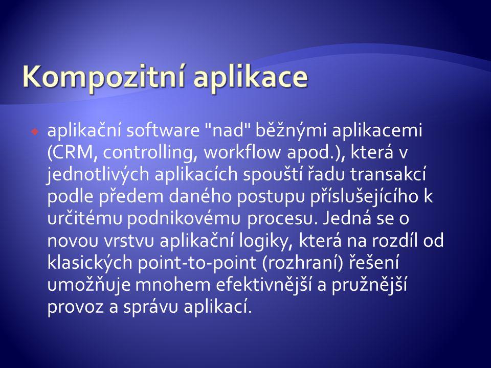  aplikační software nad běžnými aplikacemi (CRM, controlling, workflow apod.), která v jednotlivých aplikacích spouští řadu transakcí podle předem daného postupu příslušejícího k určitému podnikovému procesu.