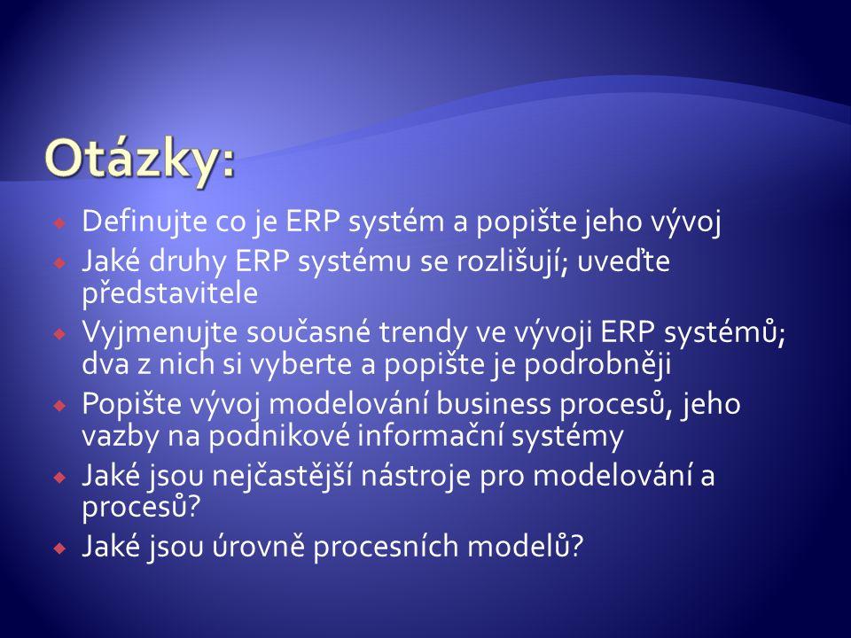  Definujte co je ERP systém a popište jeho vývoj  Jaké druhy ERP systému se rozlišují; uveďte představitele  Vyjmenujte současné trendy ve vývoji E
