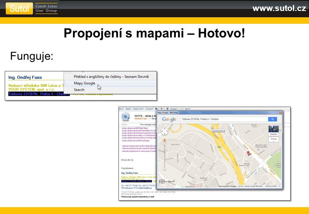 www.sutol.cz Propojení s mapami – Hotovo! Funguje: