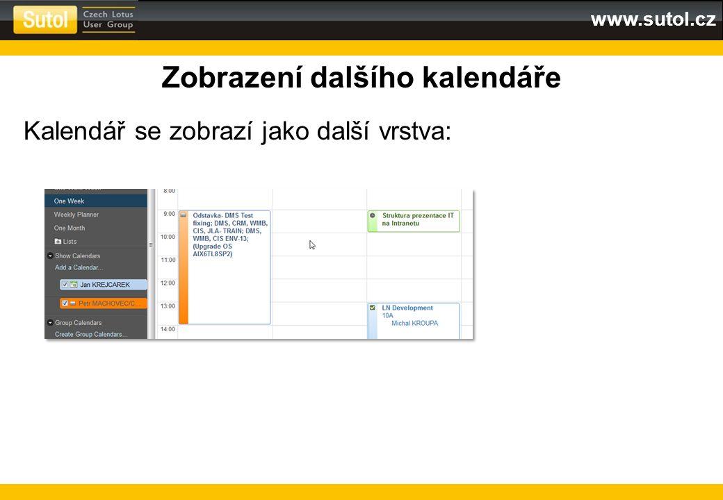 www.sutol.cz Zobrazení dalšího kalendáře Kalendář se zobrazí jako další vrstva: