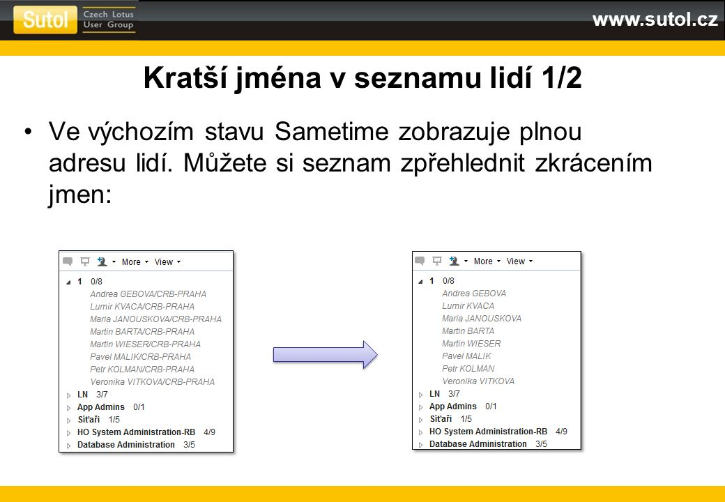 www.sutol.cz Kratší jména v seznamu lidí 1/2 Ve výchozím stavu Sametime zobrazuje plnou adresu lidí. Můžete si seznam zpřehlednit zkrácením jmen: