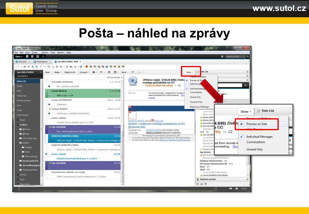 www.sutol.cz Pošta – náhled na zprávy