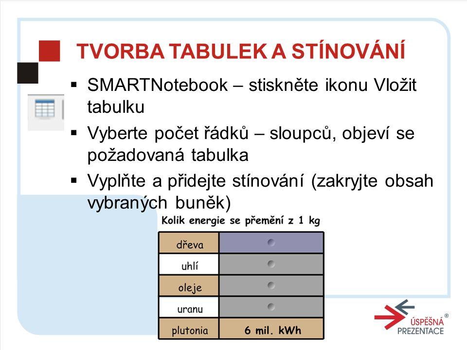 TVORBA TABULEK A STÍNOVÁNÍ  SMARTNotebook – stiskněte ikonu Vložit tabulku  Vyberte počet řádků – sloupců, objeví se požadovaná tabulka  Vyplňte a přidejte stínování (zakryjte obsah vybraných buněk)
